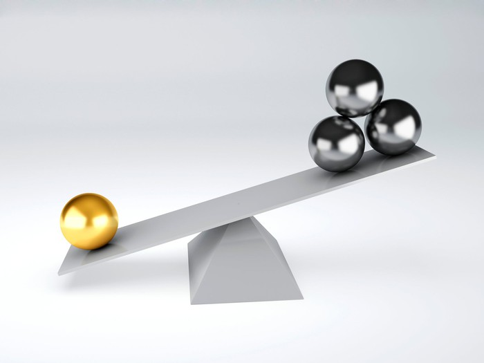 Picture of a rudimentary scale with one gold ball weighing down three silver balls.