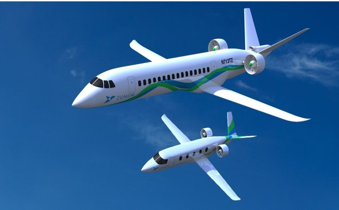 Zunum electric planes in flight.
