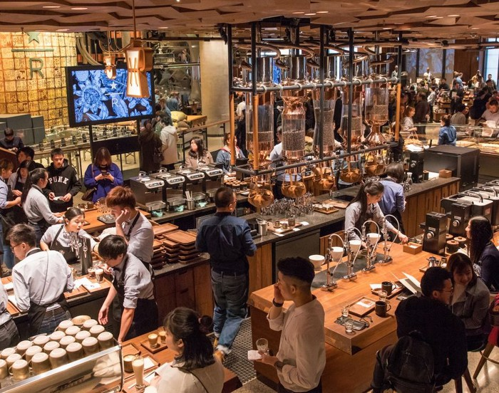 The inside of the Starbucks Reserve Roastery in Shanghai