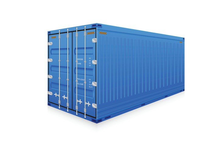 Storage container with white background