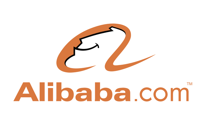 Alibaba's logo, featuring a smiling genie in gold on white.