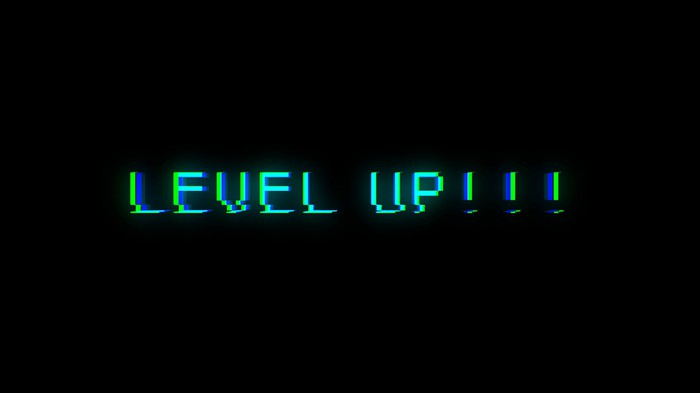 A black screen showing the words Level Up with three exclamation points