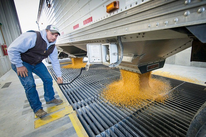 Worker watching grain drop into a milling facility.