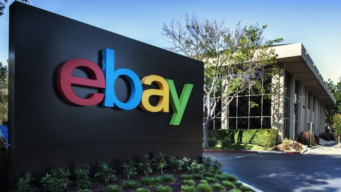 eBay sign at corporate headquarters.