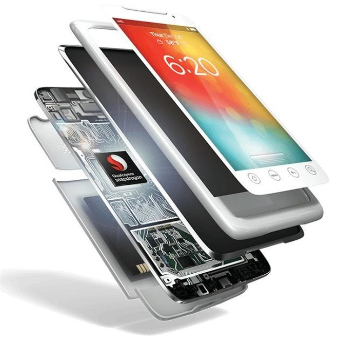 A cutaway of a smartphone revealing a Qualcomm SoC inside.