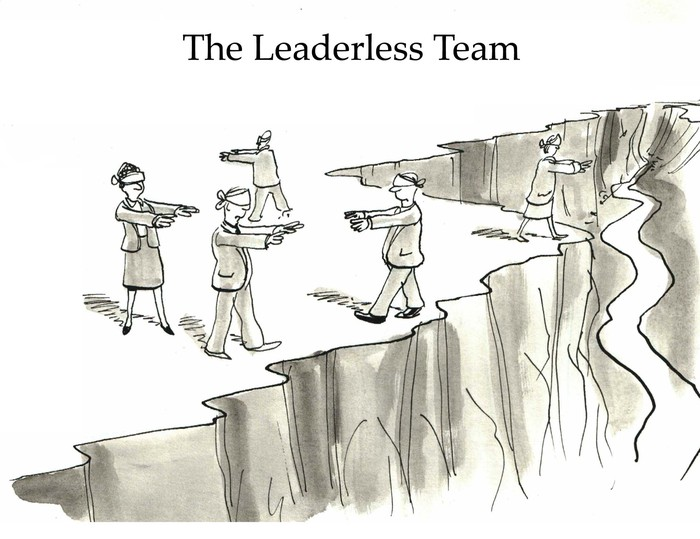 Business cartoon showing five blindfolded businesspeople walking on the edge of a cliff, they are 'The Leaderless Team'.