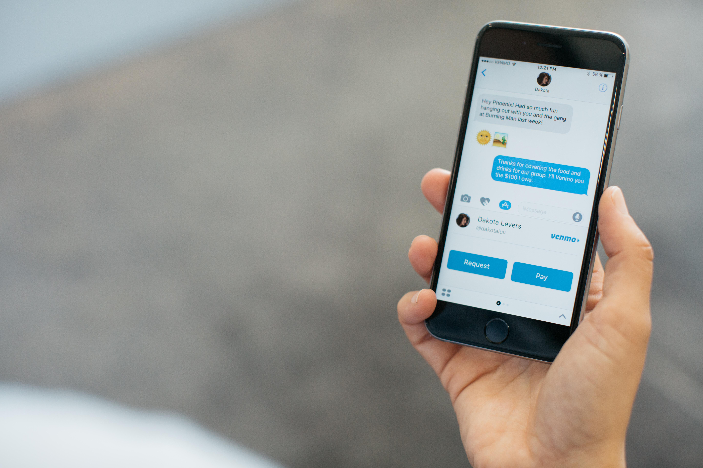 Smartphone screen showing Venmo messaging