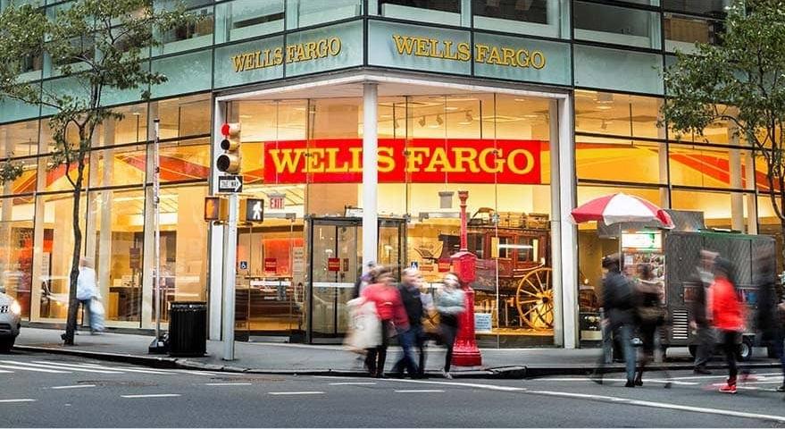 exterior of Wells Fargo branch in city
