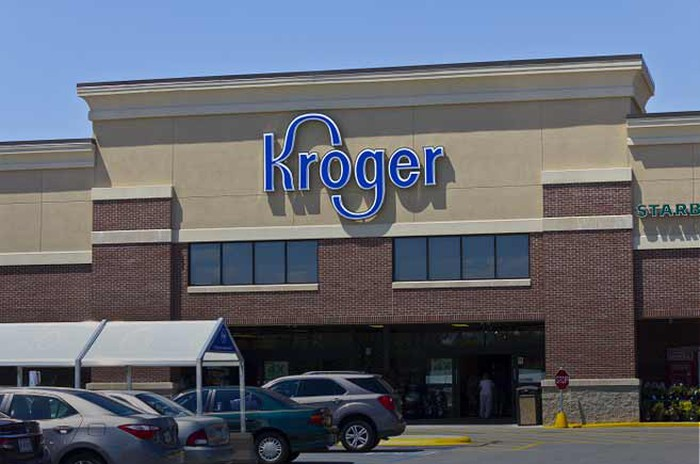 The front of a Kroger store.