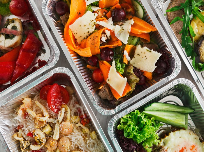 Healthy meals separated into containers
