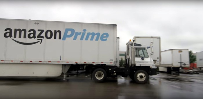 White semi truck with a black-and-blue Amazon Prime logo on the trailer.