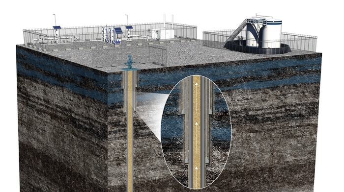 Cross-section of ground underlying well and pumping station, including rock layers and indication of equipment operation.