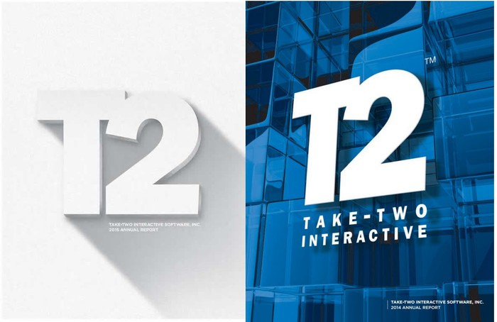 Covers of Take-Two annual reports, one in white, the other in blue.