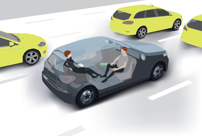 Two people sit in a driverless car.