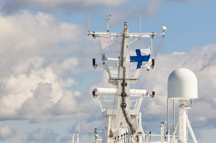 Finnish flag on a ship mast