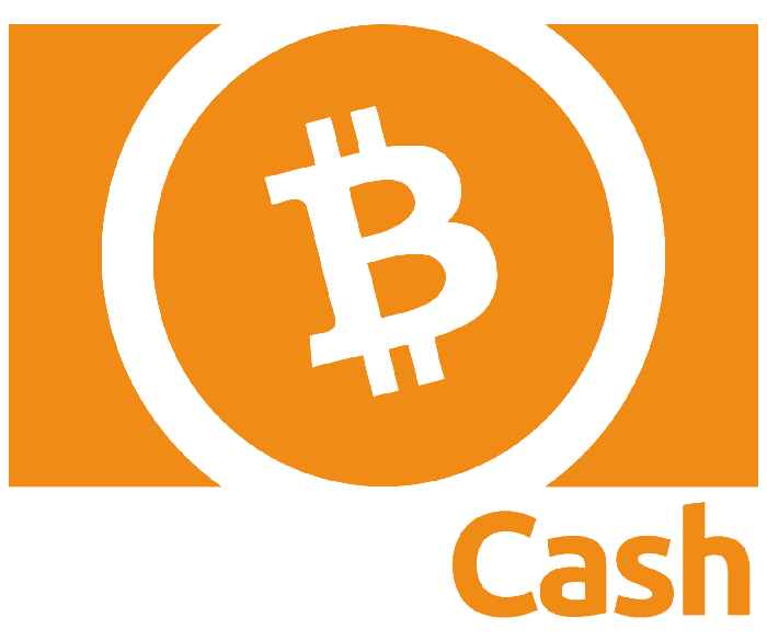 The Bitcoin Cash logo, orange on white.