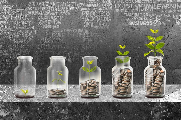 Jars filled with rising levels of coins with plants growing on top.