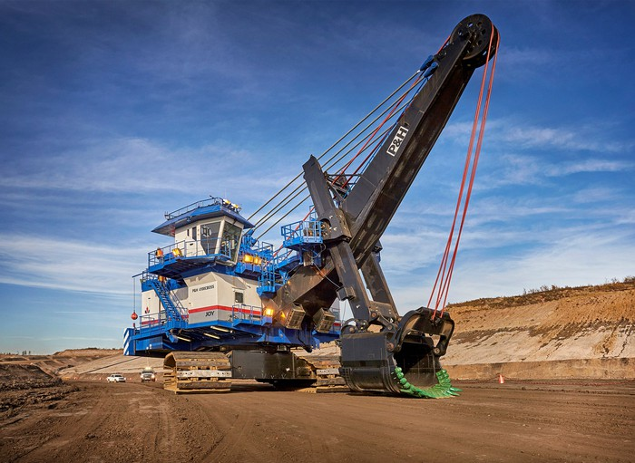 Excavator at an oil sands facility.