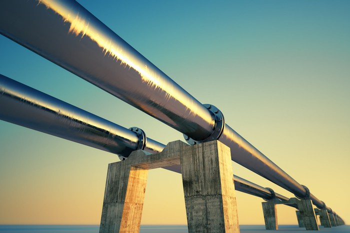 Elevated pipelines at sunset.