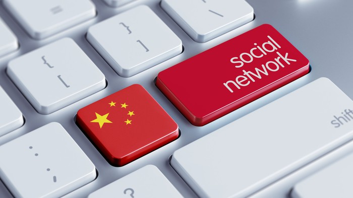 "Keyboard with one key of the Chinese flag and the other that reads ""social network."""