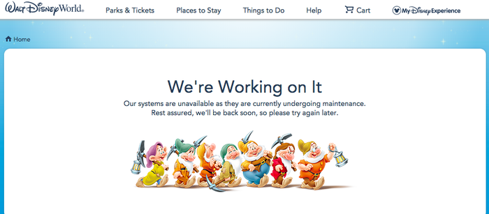 We're Working on it reads Disney World's ticket website page early Sunday ahead of the new pricing.