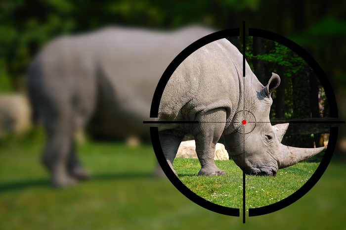 A rhinoceros grazing on grass and standing in the crosshairs of a telescope.