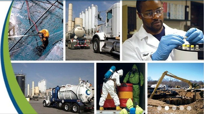 Six pictures within one showing various aspects of the company's business from a landfill site to one of its trucks to a laboratory worker.
