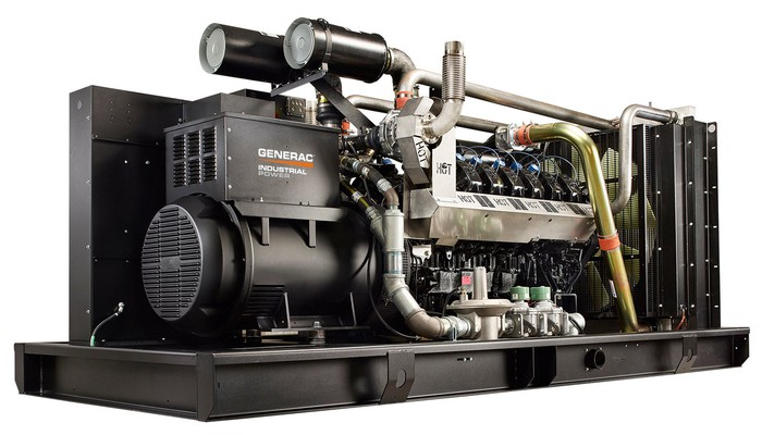 Large industrial electrical generator with Generac logo on it.