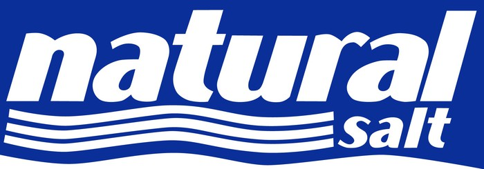 Logo featuring words natural salt in blue with white waves.