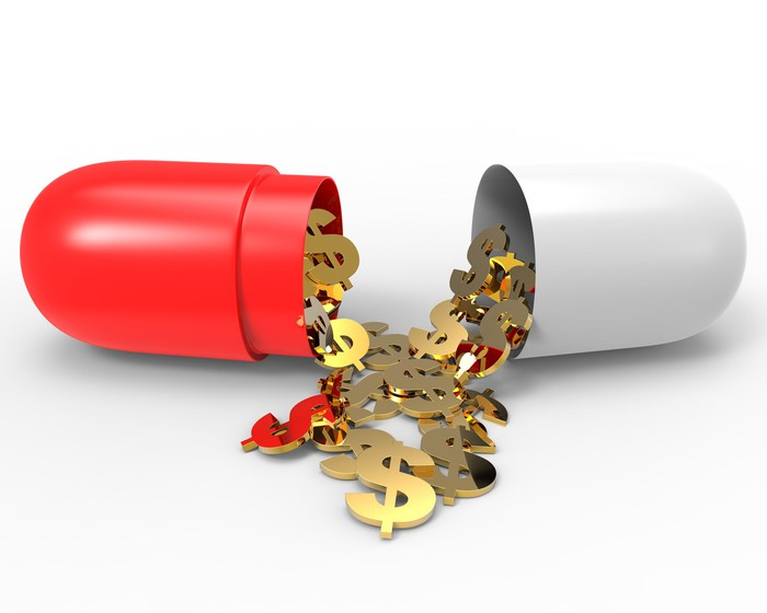 Gold dollar signs falling out of an open giant red-and-white capsule