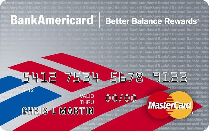 BankAmericard sample card featuring Bank of America logo.
