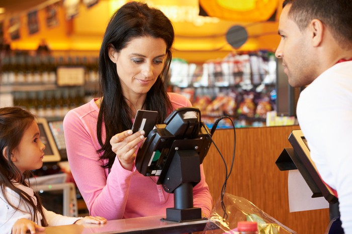 A person using a credit card at a store checkout.