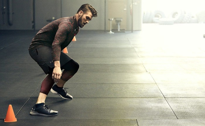 Bryce Harper performs agility drills in Under Armour apparel.