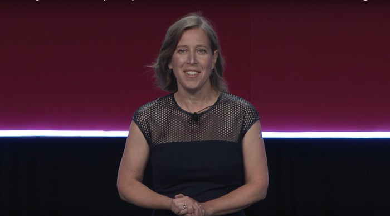 YouTube CEO Susan Wojcicki speaking on a stage