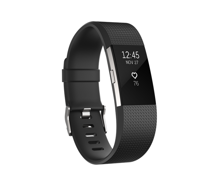Black-banded Fitbit wearable device with time, date, and heart rate displayed.