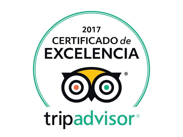 Logo with certificate of excellence in Spanish.