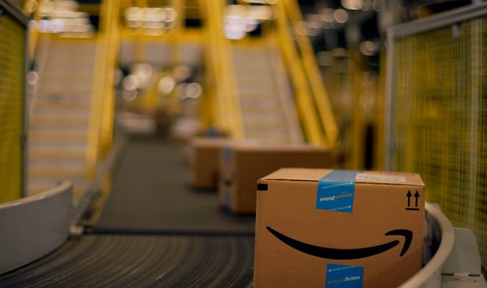 Amazon package on conveyor belt.
