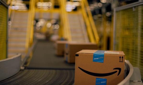 Amazon package on conveyor belt.