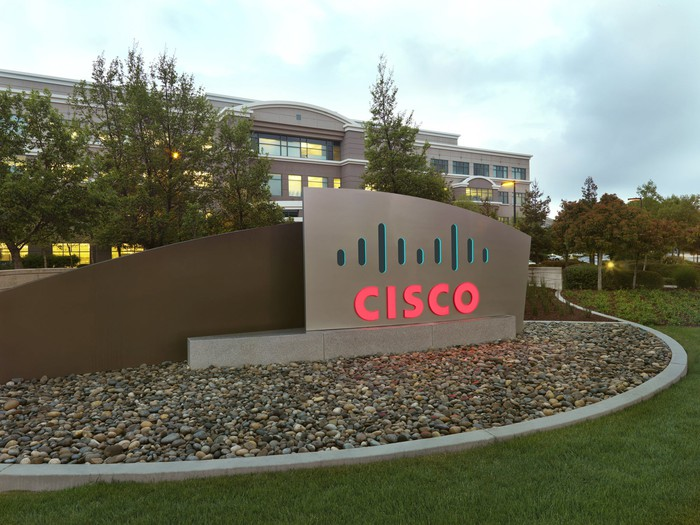 The Cisco logo on a sign in front of a Cisco facility.