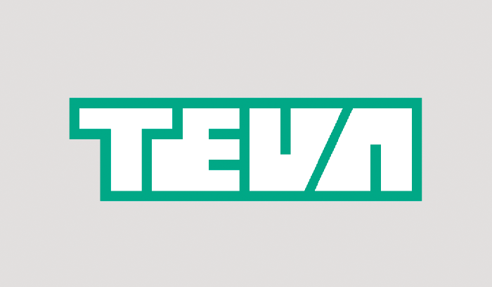 Teva Pharmaceuticals logo outlined in green on a gray background.