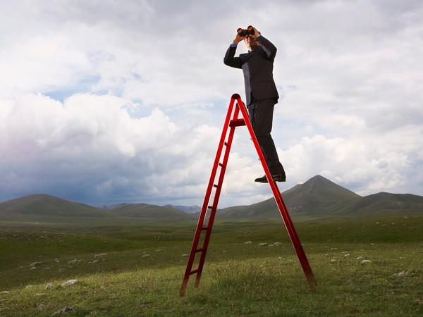 Business man on ladder looking out into distance