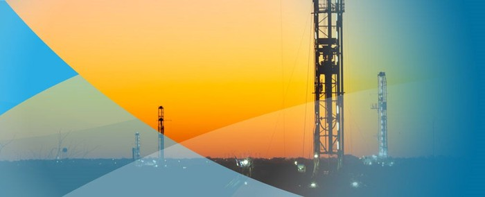 Multiple oil rigs against a sunset silhouette with blue-colored curves as accents.