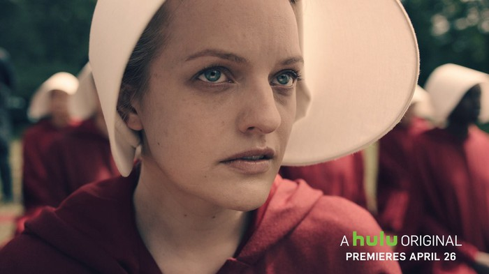 "A still of actress Elisabeth Moss from Hulu original ""The Handmaid's Tale."""