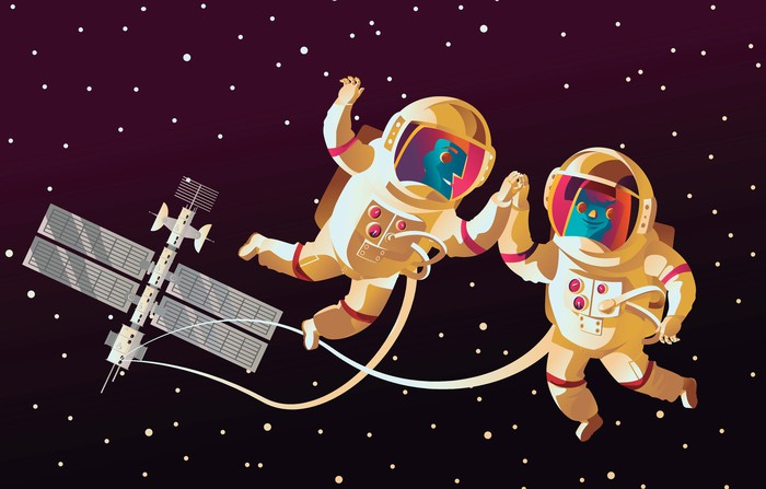Cartoon astronauts on a space walk near ISS
