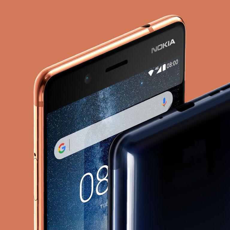 An up-close detail of a Nokia 8.