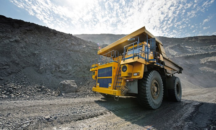 Large earth-moving truck in a mine.