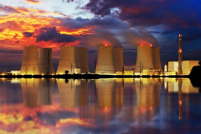 Cooling towers at a nuclear power plant.