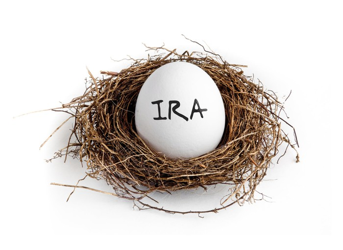 White egg labeled IRA sitting in a nest.