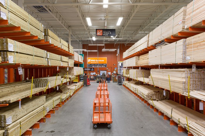 A lumber aisle in a Home Depot store