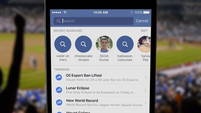 Facebook app on mobile phone